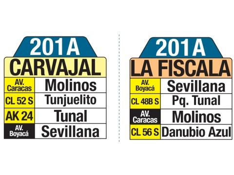 Ruta SITP: 201A Carvajal ↔ La Fiscala (tablas)