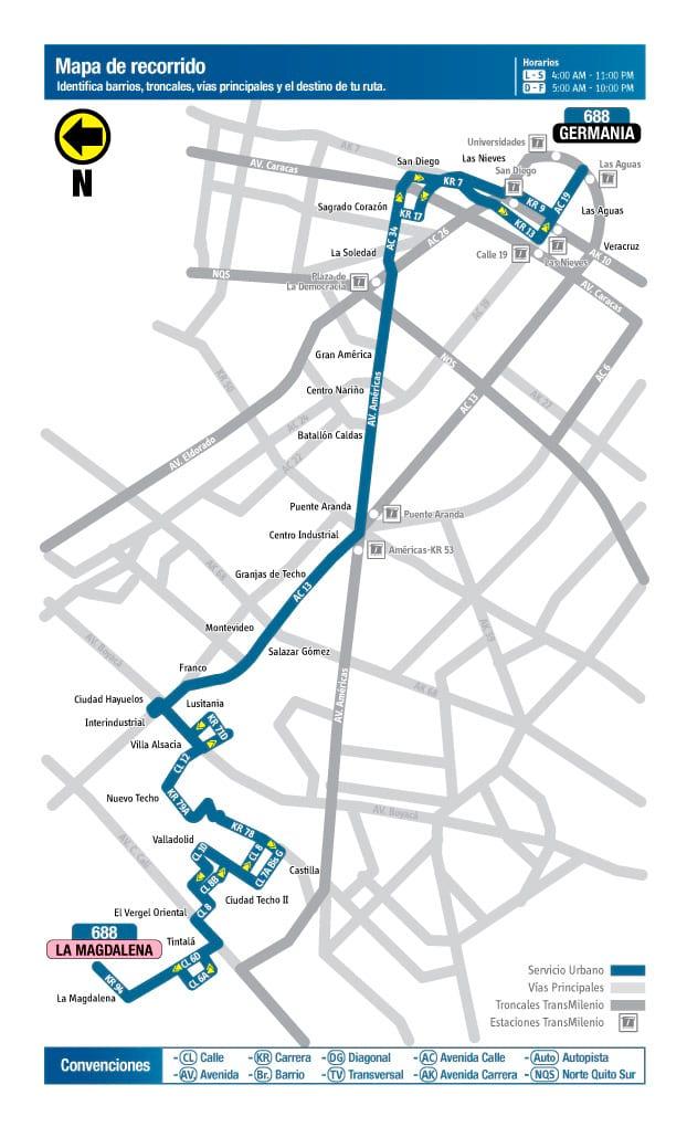 688 urbana mapa desde 3 septiembre 2018