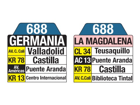 Ruta SITP: 688 La Magdalena ↔ Germania (tablas)