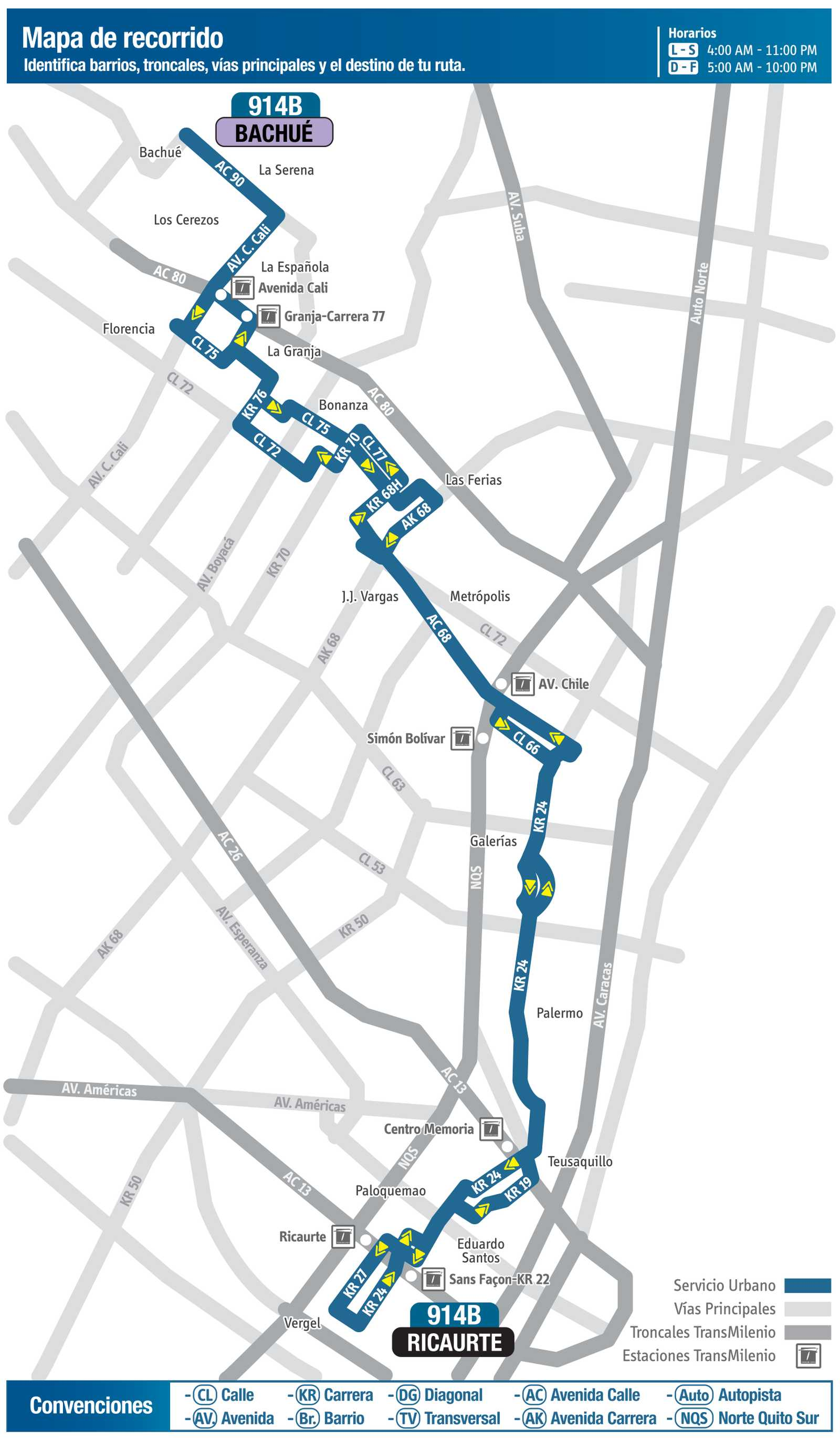 914B > Bachué - Ricaurte (mapa nueva ruta urbana)