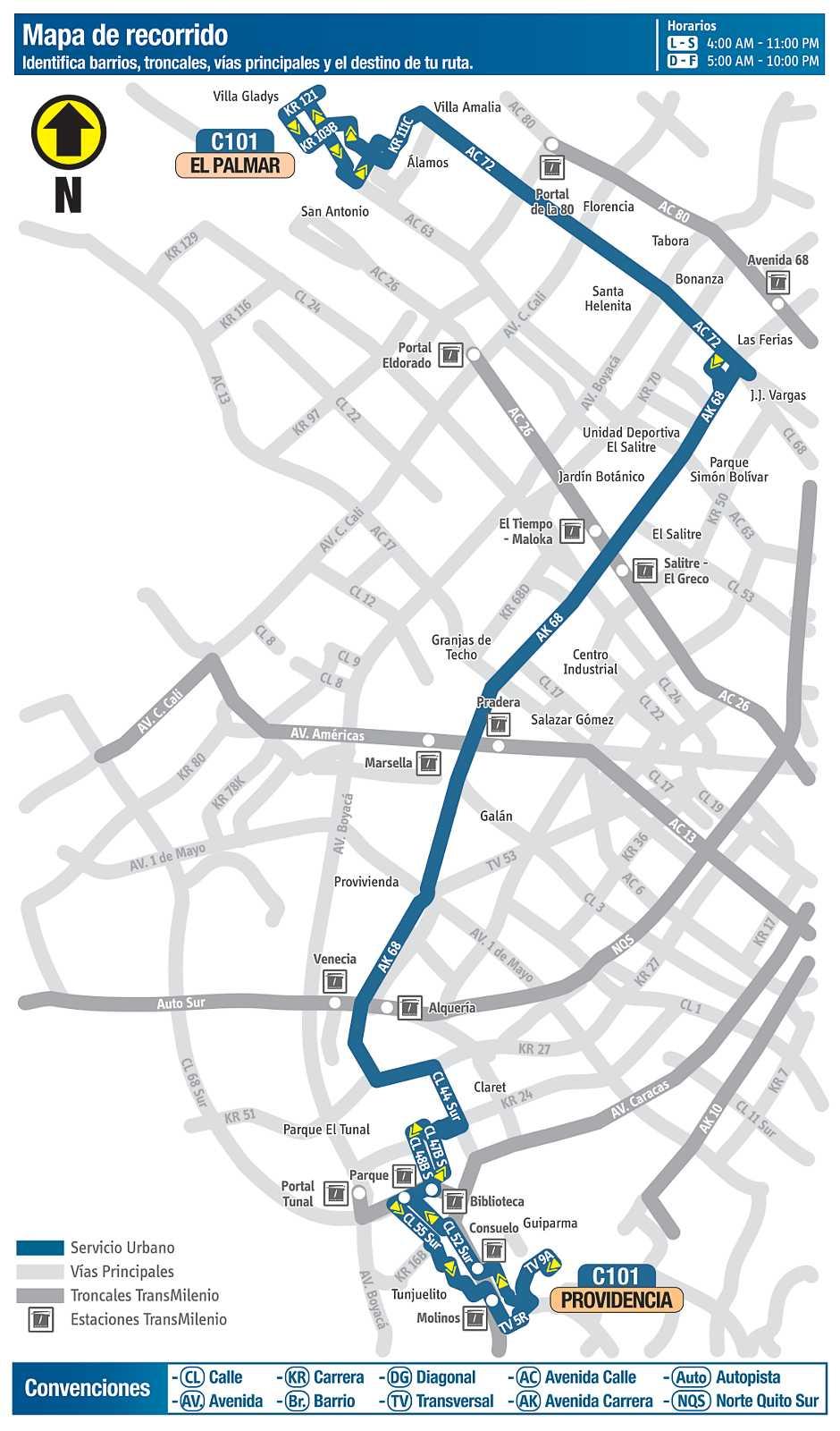C101Providencia - El Palmar (mapa desde septiembre 2018)