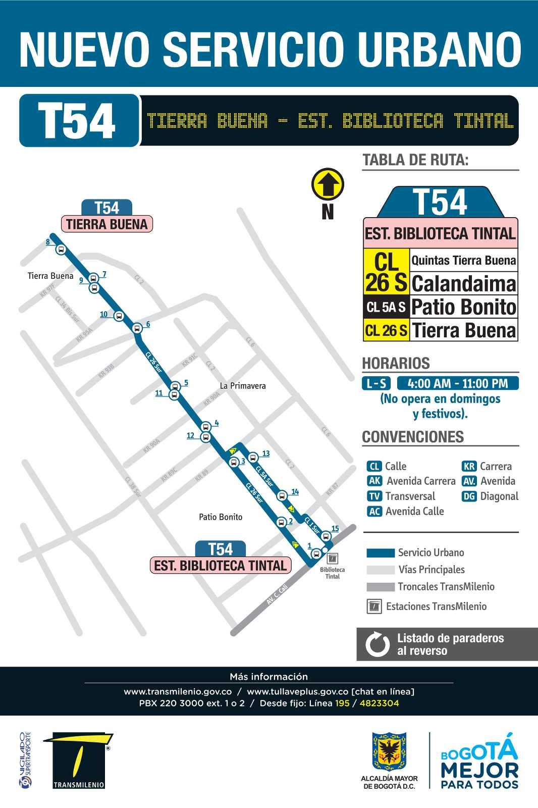 T54 Tierra Buena- Estación Biblioteca Tintal (mapa)