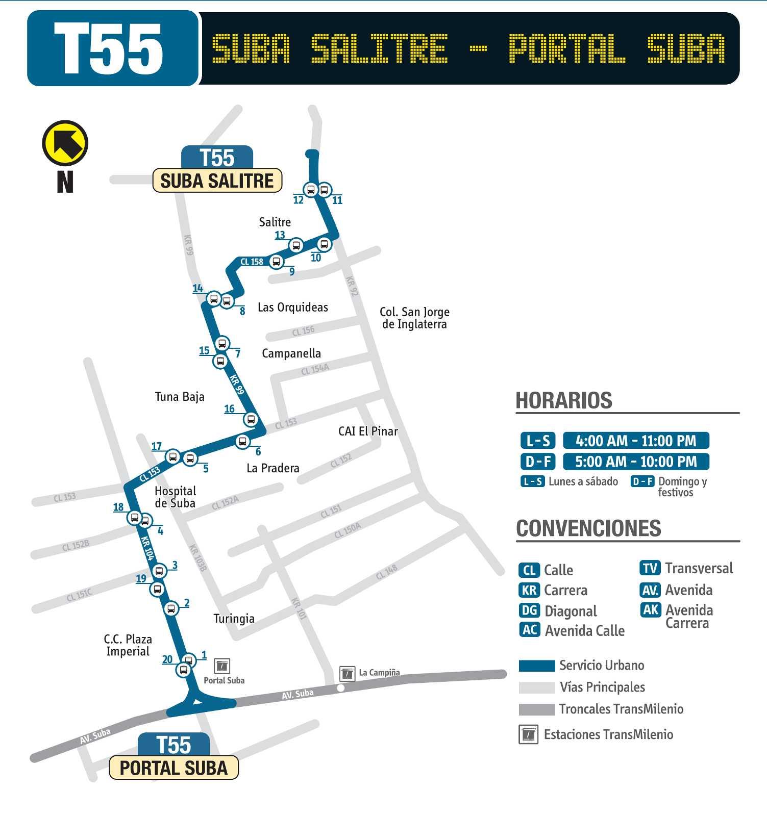 Ruta SITP: T55 > Suba Salitre – Portal Suba (mapa)