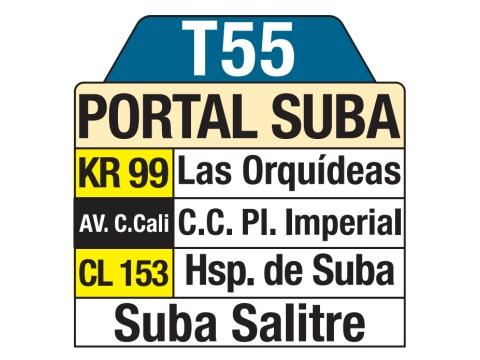 Ruta SITP: T55 > Suba Salitre – Portal Suba (tablas)