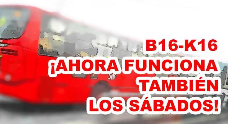 Aviso B16-K16 opera los sábados