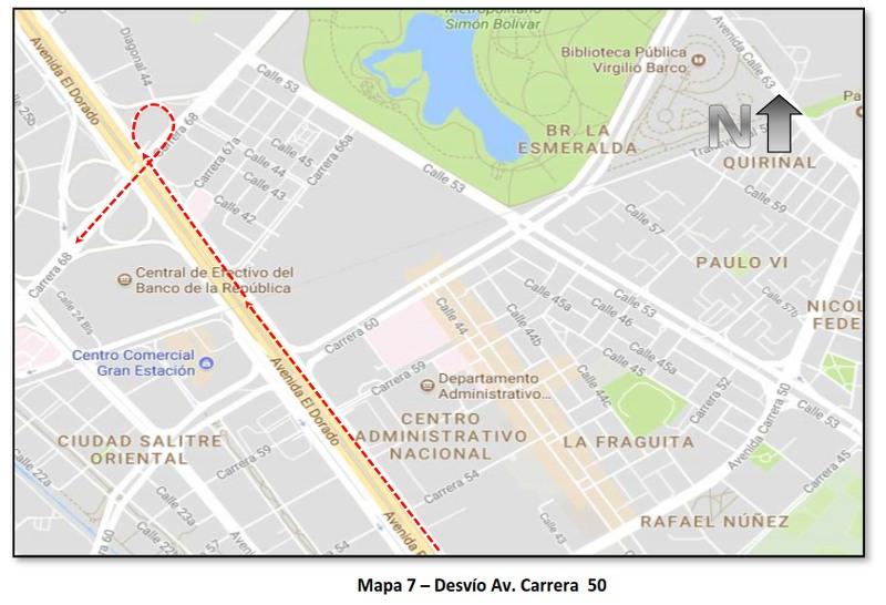 """Cierres y desvíos por la """"Carrera Atlética de la Mujer Colombia"""" (mapa 7)"""