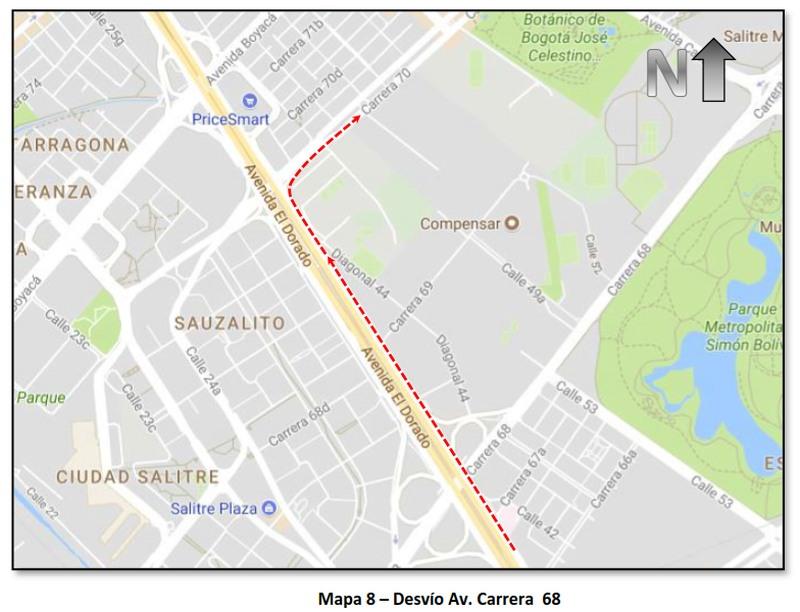 """Cierres y desvíos por la """"Carrera Atlética de la Mujer Colombia"""" (mapa 8)"""