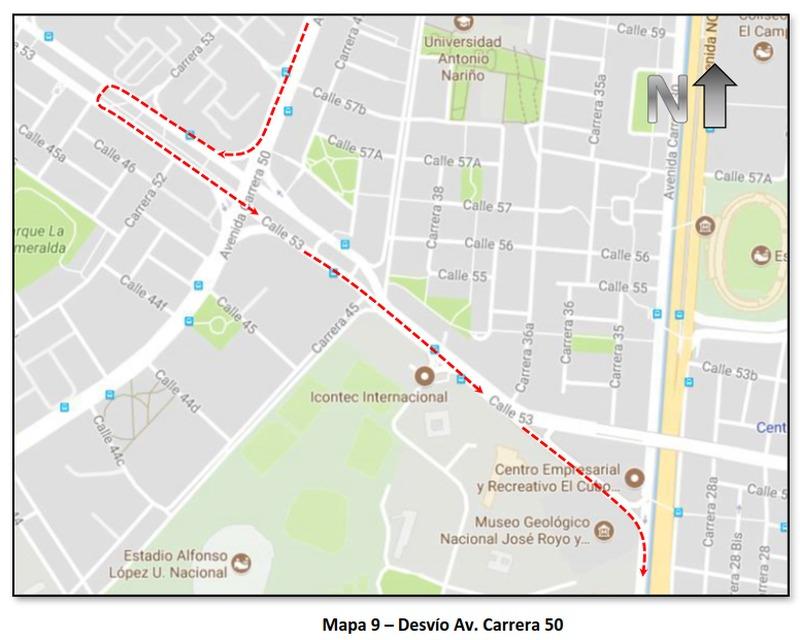 """Cierres y desvíos por la """"Carrera Atlética de la Mujer Colombia"""" (mapa 9)"""