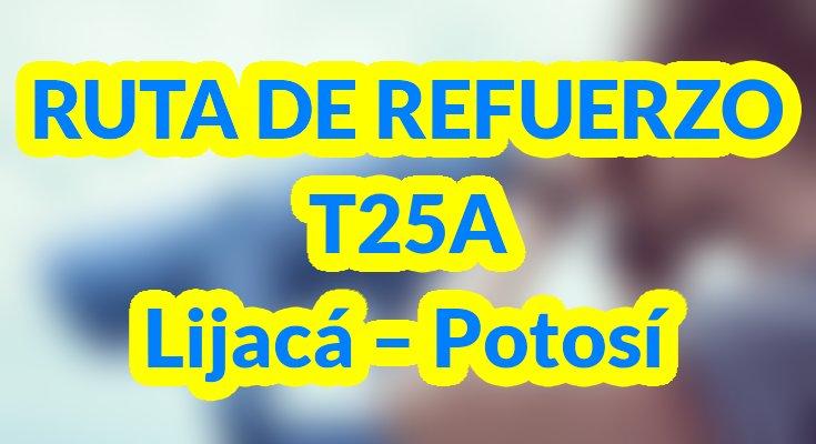 Información nueva ruta T25A de refuerzo para la ruta T25 urbana del SITP