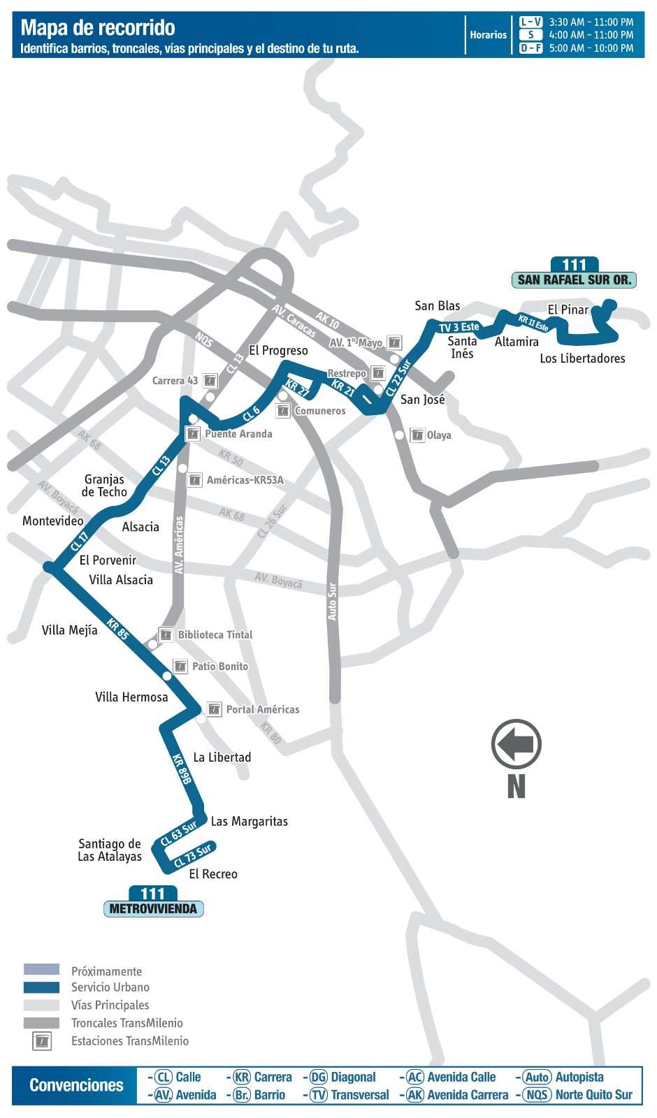 Ruta SITP: 111 San Rafael Suroriental ↔ Metrovivienda (mapa)