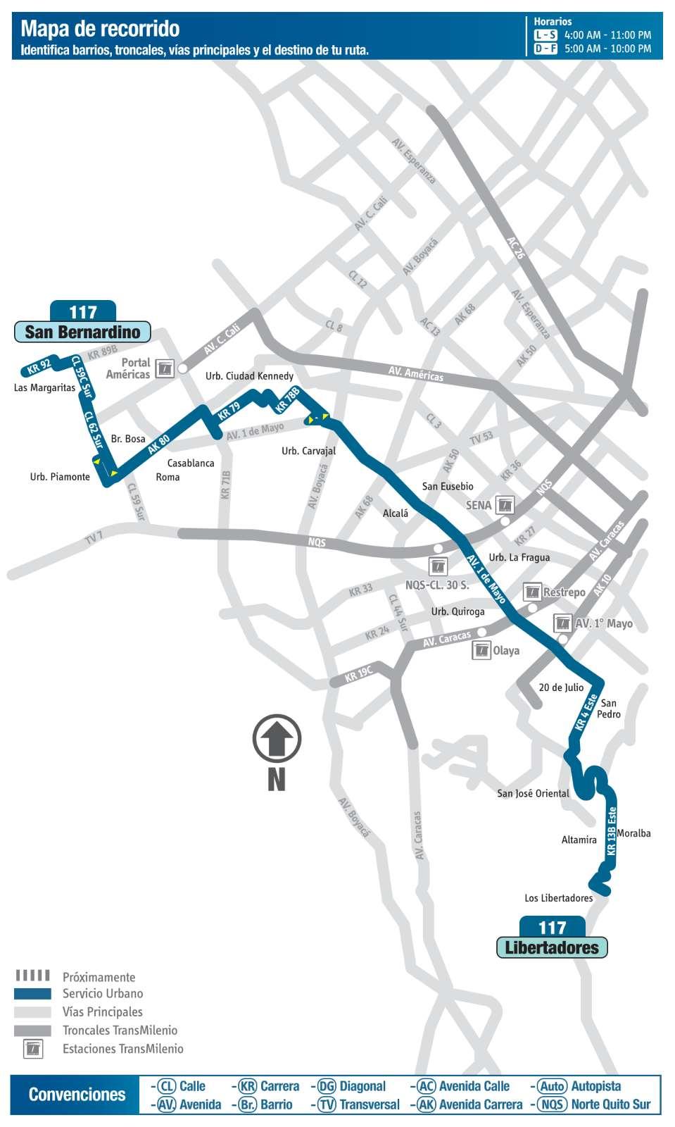 Ruta SITP: 117 San bernardino ↔ Los libertadores (mapa)