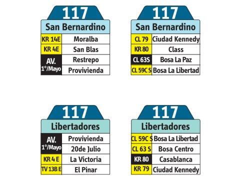 Ruta SITP: 117 San bernardino ↔ Los libertadores (tablas)