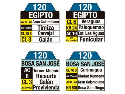 Ruta SITP: 120 Bosa San José ↔ Egipto (tablas)