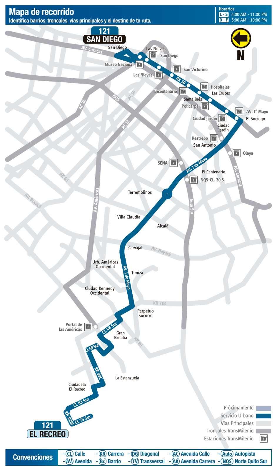 Ruta SITP: 121 El Recreo ↔ San Diego (mapa)
