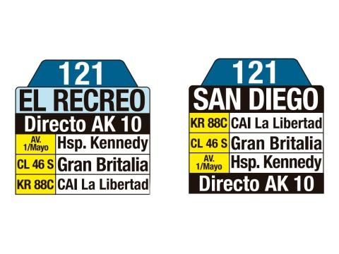 Ruta SITP: 121 El Recreo ↔ San Diego (tablas)