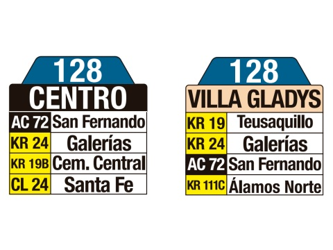 Ruta SITP: Ruta 128 Centro ↔ Villa Gladys (tablas)