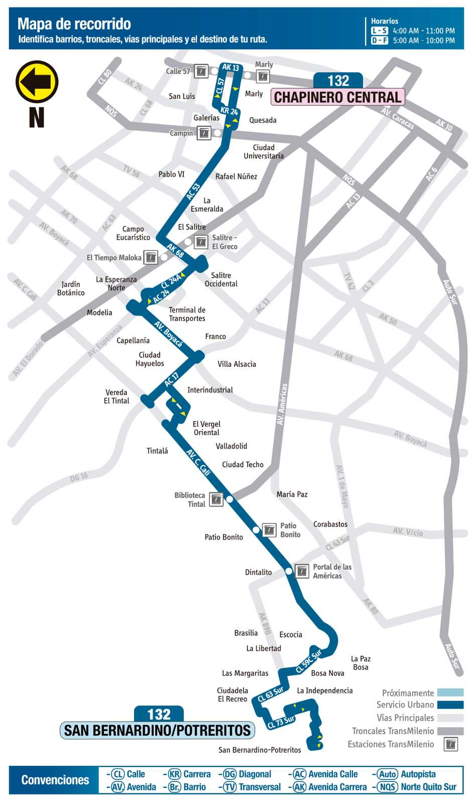 Ruta SITP: 132 San Bernardino / Potreritos ↔ Chapinero Central (mapa)