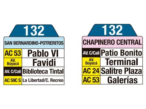 Ruta SITP: 132 San Bernardino / Potreritos ↔ Chapinero Central (tablas)