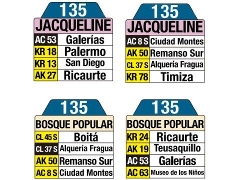 Ruta SITP: 135 Jacqueline ↔ Bosque Popular (tablas)