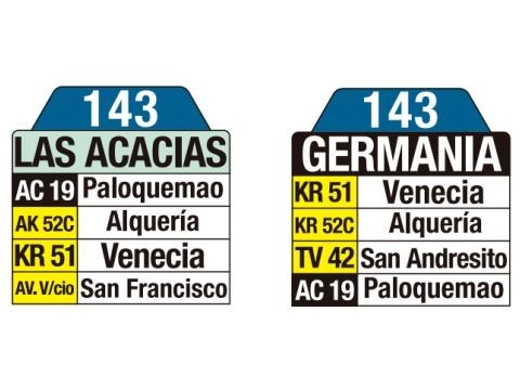 Ruta SITP: 143 Las Acacias ↔ Germania (tablas)