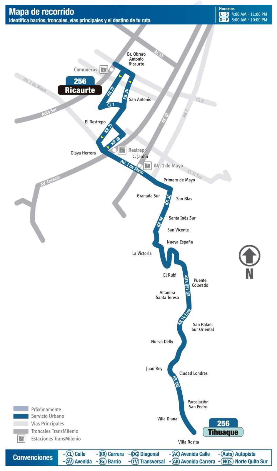 Ruta SITP: 256 Tihuaque ↔ Ricaurte (mapa)