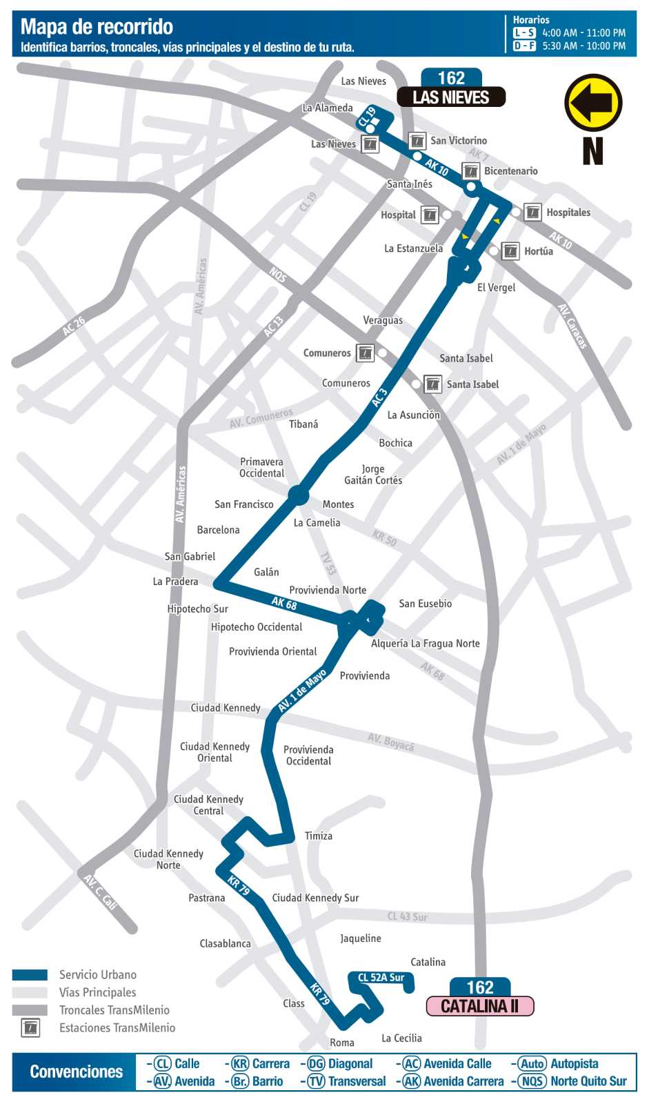 Ruta SITP: 162 Catalina II ↔ Las Nieves (mapa)