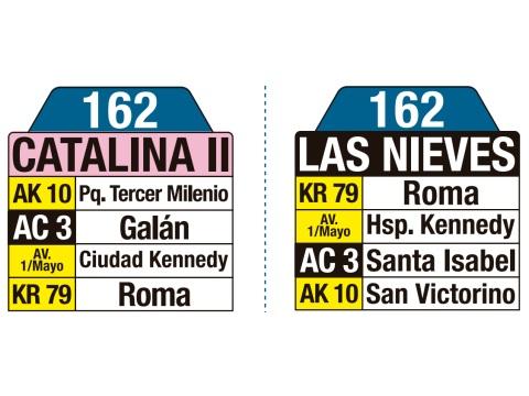 Ruta SITP: 162 Catalina II ↔ Las Nieves (tablas)