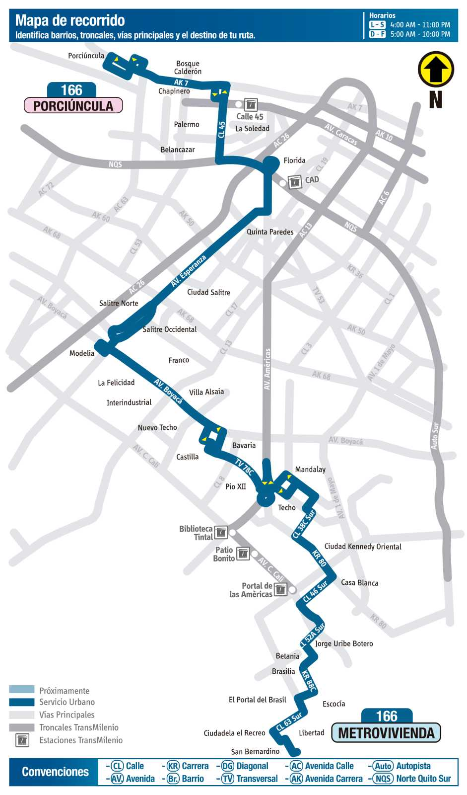 Ruta SITP: 166 Porciúncula - Metrovivienda (mapa)