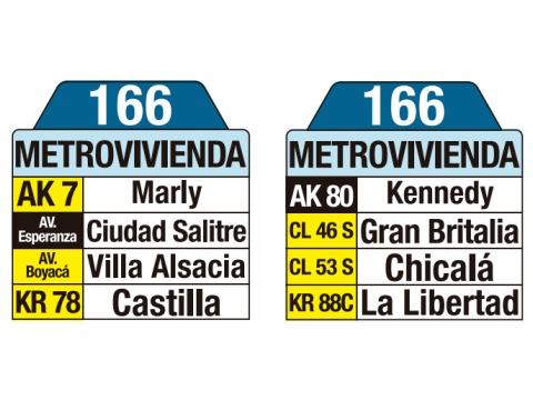 Ruta SITP: 166 Porciúncula - Metrovivienda (tablas)