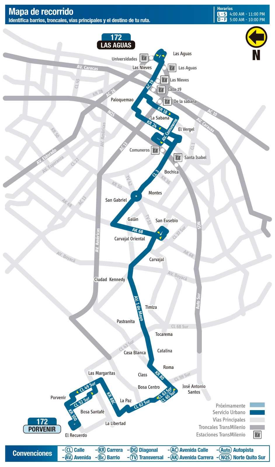 Ruta SITP: 172: Paloquemao ↔ Porvenir (mapa)