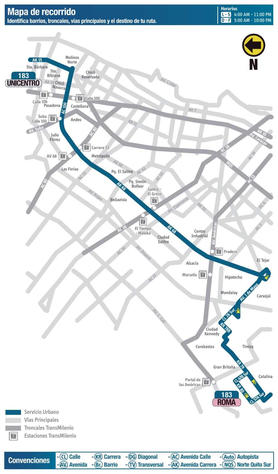 Ruta SITP: 183 Roma ↔ Unicentro (mapa)