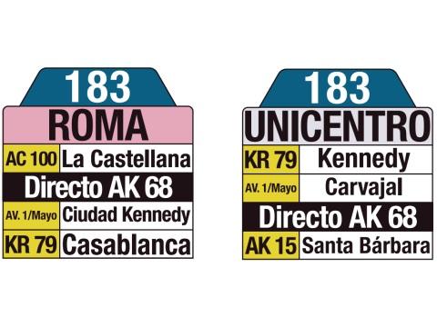 Ruta SITP: 183 Roma ↔ Unicentro (tablas)