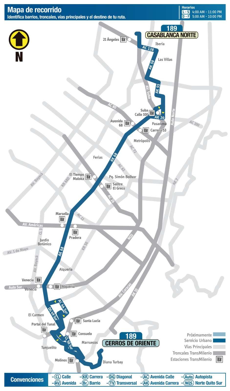Ruta SITP: 189 Cerros de Oriente ↔ CasaBlanca Norte (mapa)
