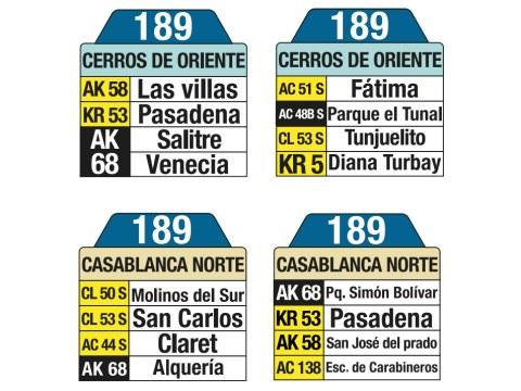 Ruta SITP: 189 Cerros de Oriente ↔ CasaBlanca Norte (tablas)