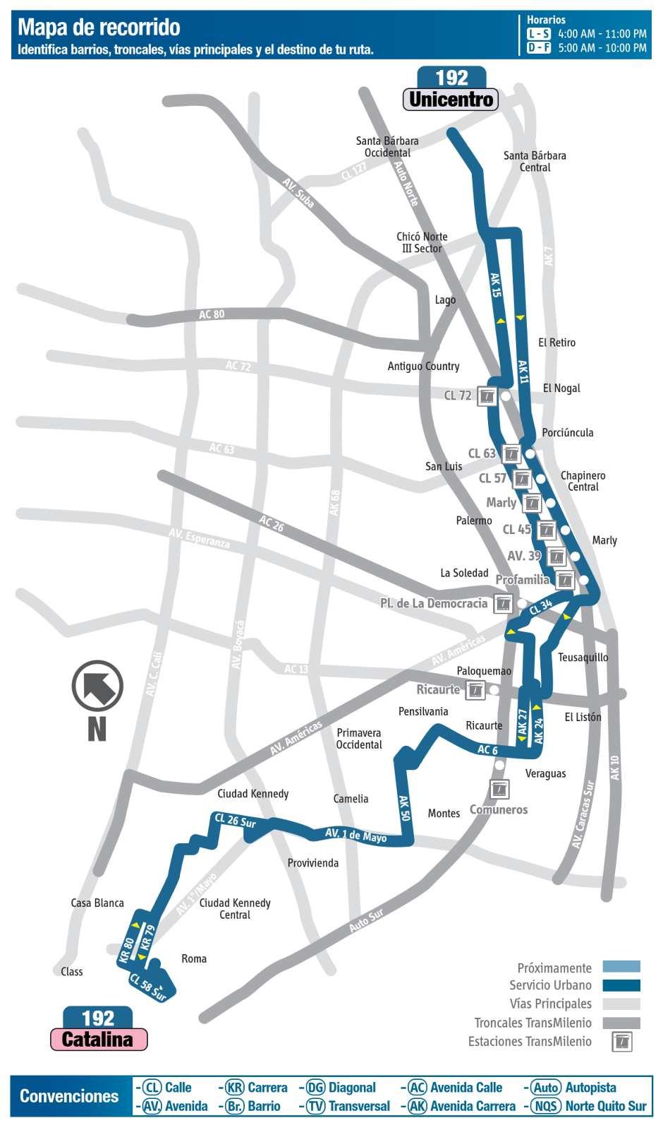 Ruta SITP: 192 Catalina ↔ Unicentro (mapa)
