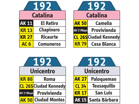 Ruta SITP: 192 Catalina - Unicentro (tablas)