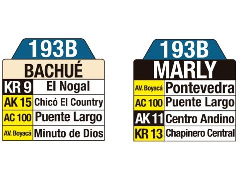Ruta SITP: 193B Bachué ↔ Marly (tablas)
