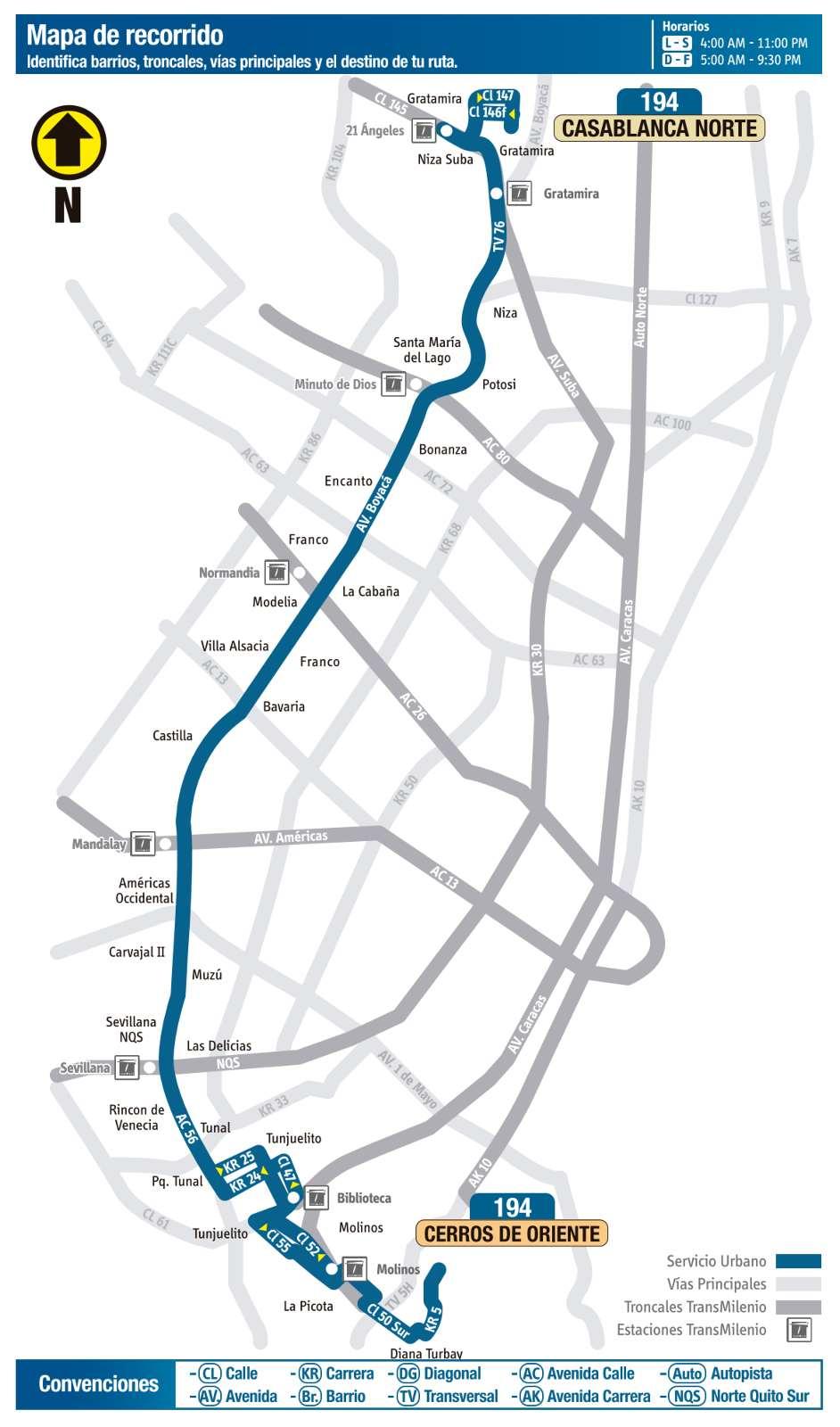 Ruta SITP: 194 Casa Blanca Norte ↔ Cerros Oriente (mapa)