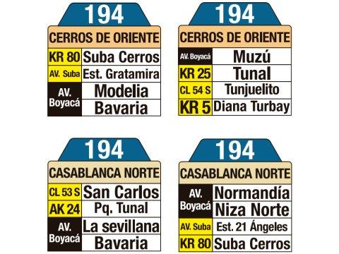 Ruta SITP: 194 Casa Blanca Norte ↔ Cerros Oriente (tablas)