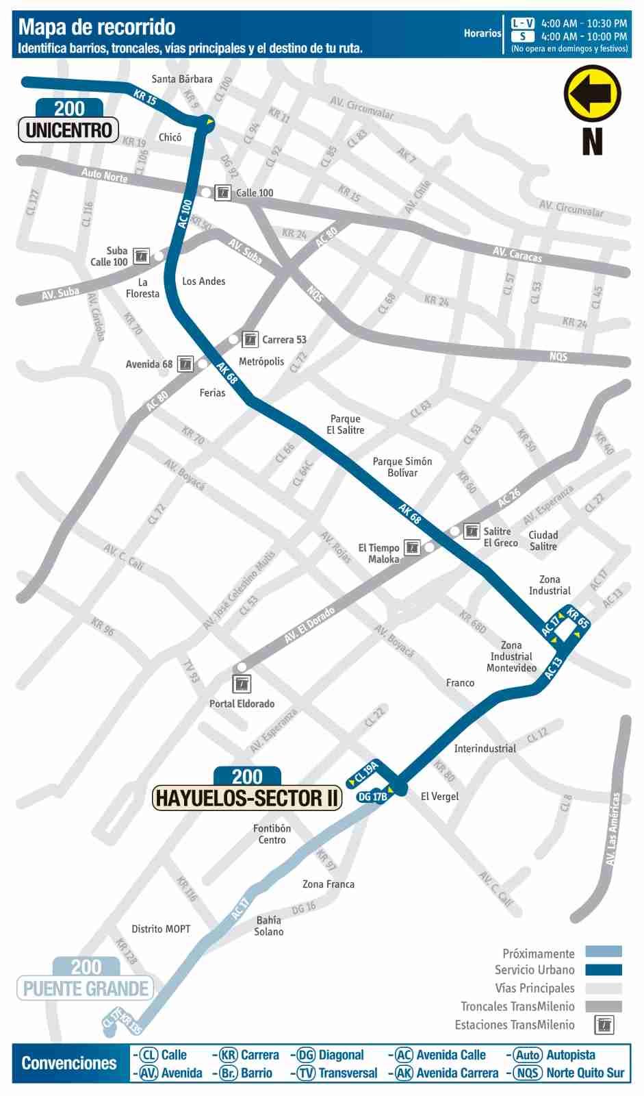 Ruta SITP: 200 Hayuelos Sector II ↔ Unicentro (mapa)