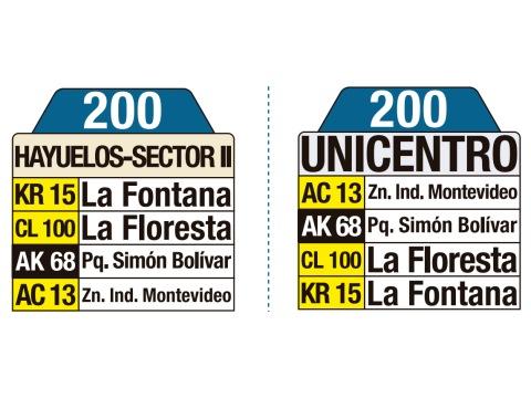 Ruta SITP: 200 Hayuelos Sector II ↔ Unicentro (tablas)