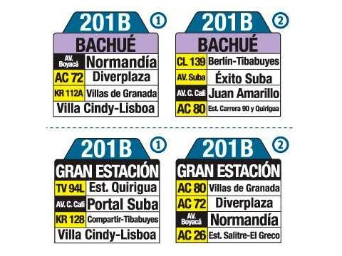 Ruta SITP: 201B Bachué ↔ Gran Estación (tablas)