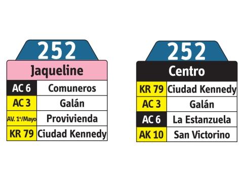 Ruta SITP: 252 Jaqueline ↔ Centro (tablas)