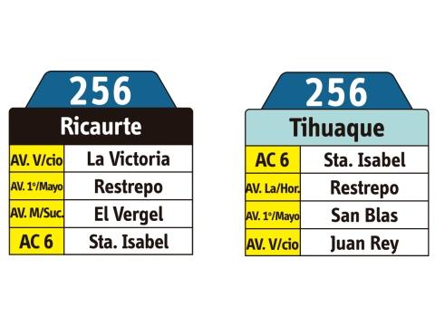 Ruta SITP: 256 Tihuaque ↔ Ricaurte (tablas)