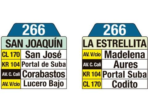 Ruta SITP: 266 San Joaquín ↔ Estrellita (tablas)