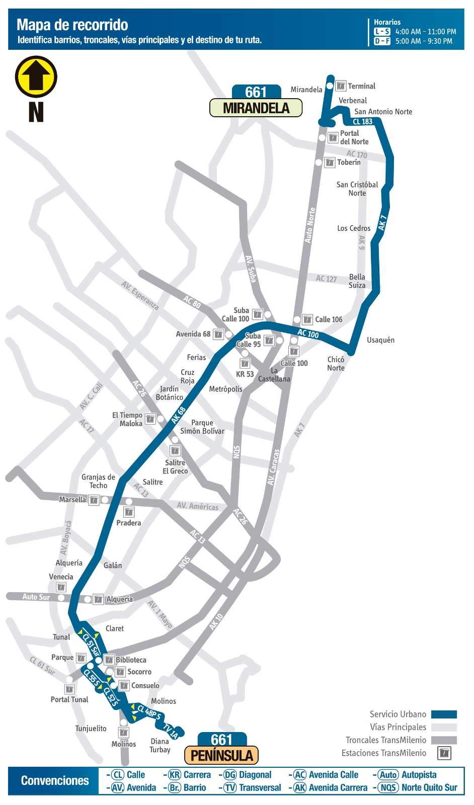 Ruta SITP: 661 Mirandela ↔ Península (mapa)