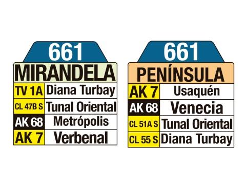 Ruta SITP: 661 Mirandela ↔ Península (tablas)