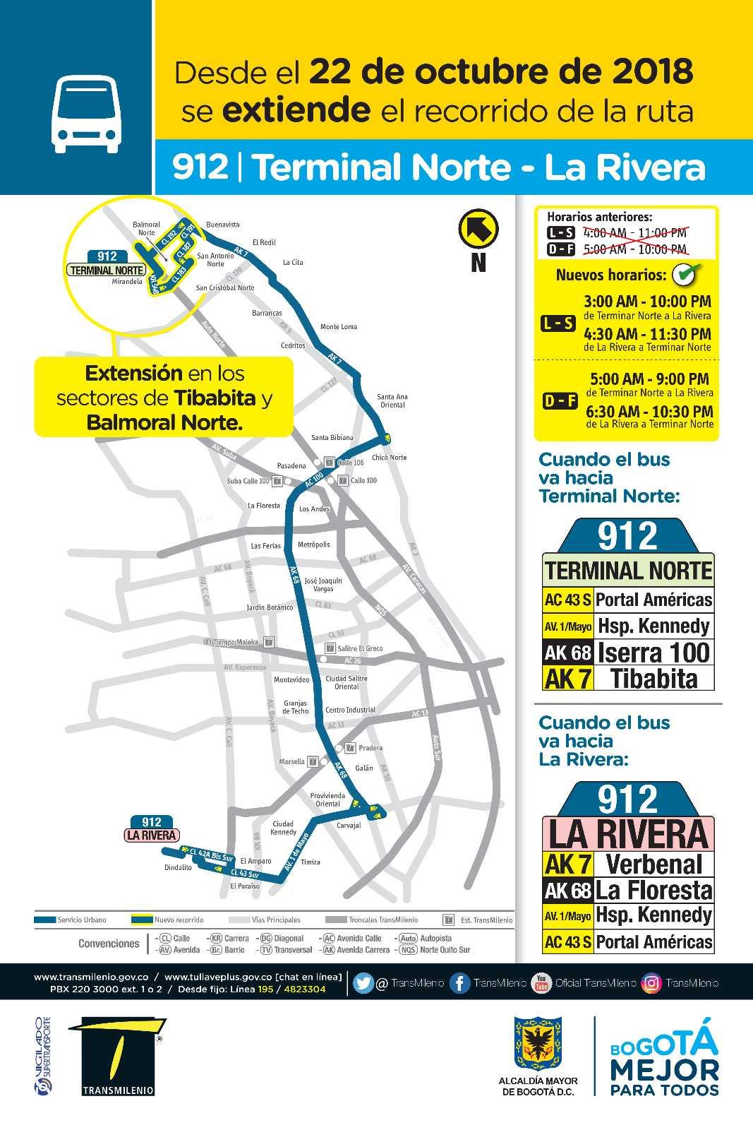 912 Terminal - La Riviera - mapa y paradas