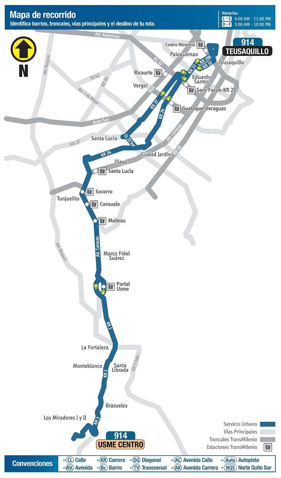 Ruta SITP: 914A Teusaquillo ↔ Usme Centro (mapa)