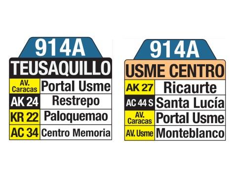 Ruta SITP: 914A Teusaquillo ↔ Usme Centro (tablas)